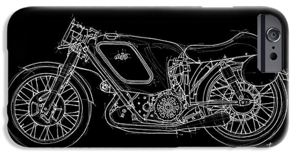 Bicycle Drawings iPhone Cases - AJS E95 500 Racer 1953 iPhone Case by Pablo Franchi