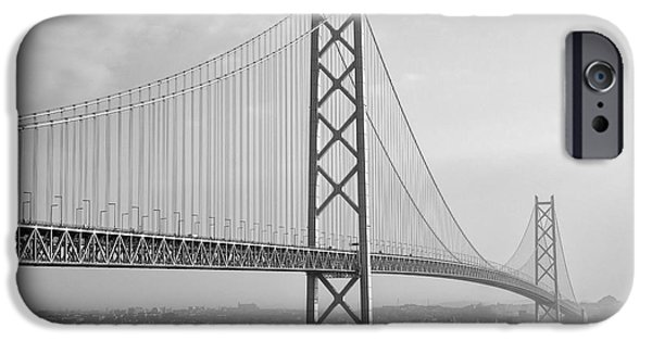 Kobe Photographs iPhone Cases - Akashi Kaikyo Bridge Monochrome iPhone Case by Daniel Hagerman