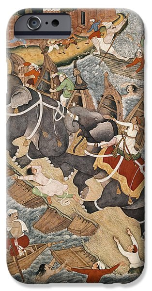 River iPhone Cases - Akbar Tames The Savage Elephant, Hawai, Outside The Red Fort At Agra, Miniature From The Akbarnama iPhone Case by Basawan and Chatai