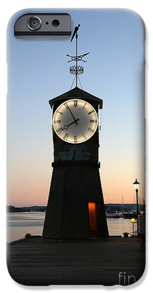 Sunset In Norway iPhone Cases - Aker Brygge Clock Tower at Sunset iPhone Case by Carol Groenen