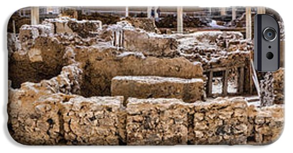 David iPhone Cases - Akrotiri Archaeological Site in Santorini iPhone Case by David Smith