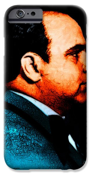 Al Capone c28169 - Black - Painterly - Text iPhone Case by Wingsdomain Art and Photography