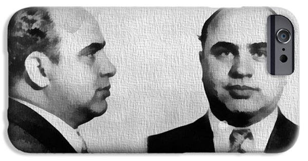 Scarface iPhone Cases - Al Capone Mug Shot iPhone Case by Dan Sproul