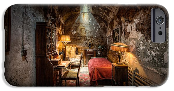 Celebrities Photographs iPhone Cases - Al Capones Cell - Historical Ruins at Eastern State Penitentiary - Gary Heller iPhone Case by Gary Heller