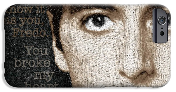 Francis Ford Coppola iPhone Cases - Al Pacino as Michael Corleone and Fredo Quote iPhone Case by Tony Rubino