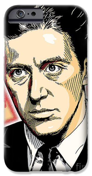 Business Digital iPhone Cases - Al Pacino as Michael Corleone Pop Art iPhone Case by Jim Zahniser