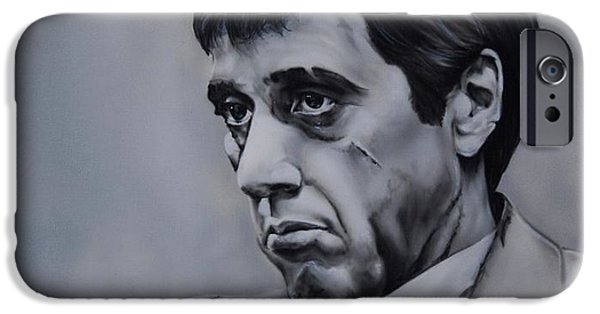 Al Pacino iPhone Cases - Al Pacino As Scarface iPhone Case by Denise Thurston Newton