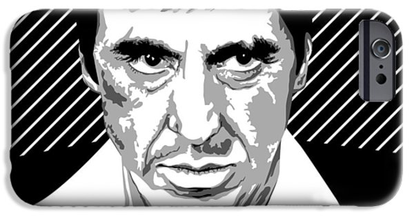 Scarface Digital Art iPhone Cases - Al Pacino Scarface  iPhone Case by Mihaela Pater
