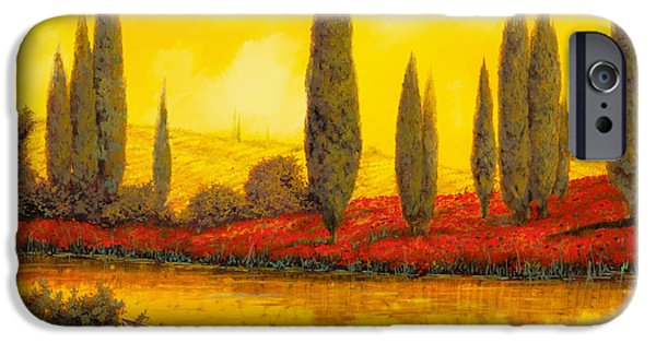 Sunset Paintings iPhone Cases - Al Tramonto iPhone Case by Guido Borelli