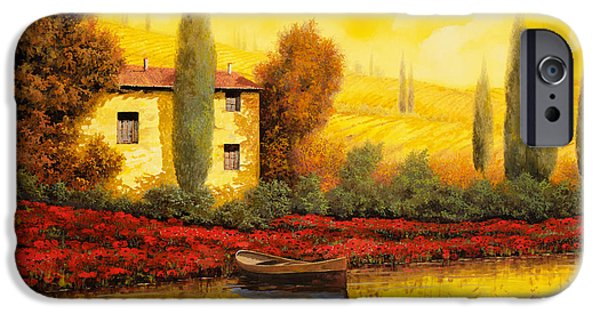 Poppies iPhone Cases - Al Tramonto Sul Fiume iPhone Case by Guido Borelli