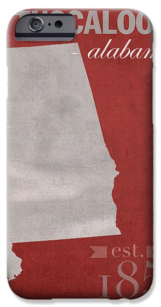 Tuscaloosa iPhone Cases - Alabama Crimson Tide Tuscaloosa College Town State Map Poster Series No 008 iPhone Case by Design Turnpike