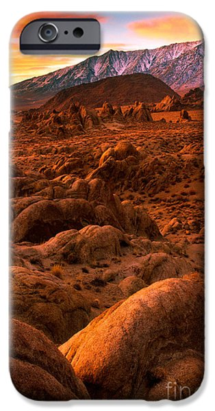 Red Rock iPhone Cases - Alabama Hills Dawn iPhone Case by Inge Johnsson