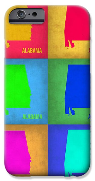 Home iPhone Cases - Alabama Pop Art Map 1 iPhone Case by Naxart Studio