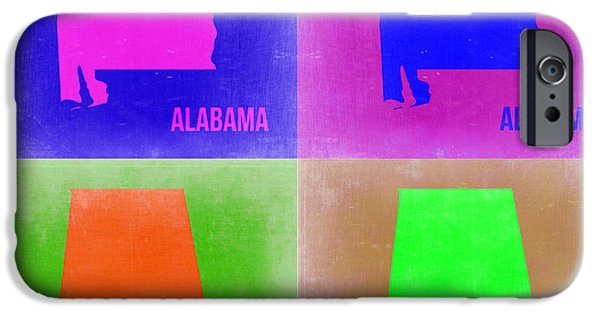 Alabama iPhone Cases - Alabama Pop Art Map 2 iPhone Case by Naxart Studio