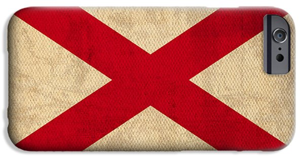 Montgomery iPhone Cases - Alabama State Flag Art on Worn Canvas iPhone Case by Design Turnpike
