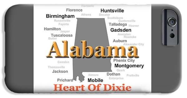 Montgomery iPhone Cases - Alabama State Pride Map Silhouette  iPhone Case by Keith Webber Jr