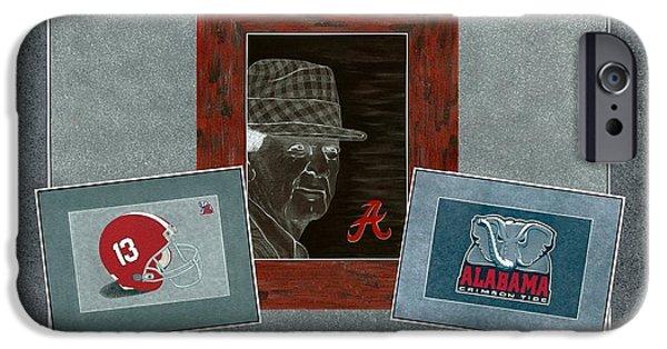 Bear Bryant iPhone Cases - Alabama Trio iPhone Case by Herb Strobino