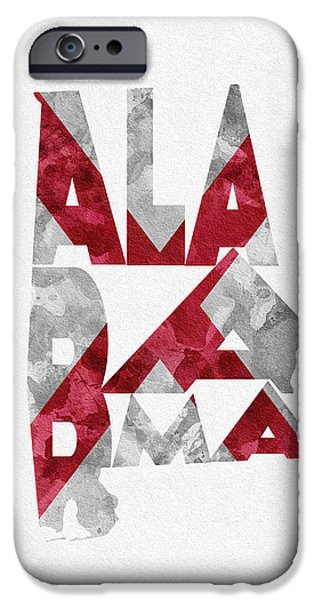 Montgomery iPhone Cases - Alabama Typographic Map Flag iPhone Case by Ayse Deniz