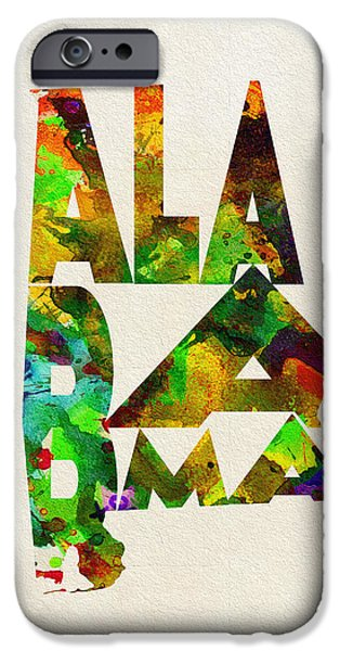 Montgomery iPhone Cases - Alabama Typographic Watercolor Map iPhone Case by Ayse Deniz