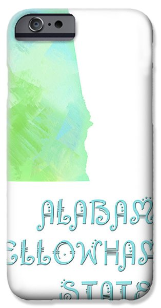 Alabama - Yellowhammer State - Map - State Phrase - Geology iPhone Case by Andee Design