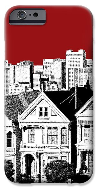 Pen And Ink iPhone Cases - San Francisco Skyline Alamo Square - Dk Red iPhone Case by DB Artist