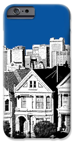Pen And Ink iPhone Cases - Alamo Square -  Royal Blue iPhone Case by DB Artist