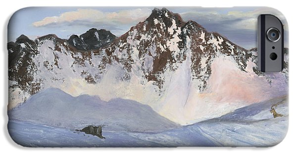 Cecilia iPhone Cases - Alamoots Winter Mountains iPhone Case by Cecilia  Brendel