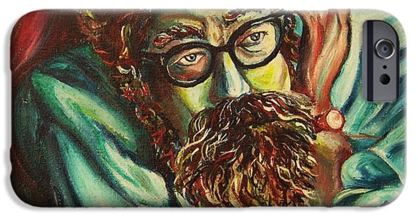 Angels Smoking iPhone Cases - Alan Ginsberg Poet Philosopher iPhone Case by Carole Spandau