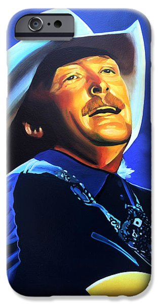 Nashville Paintings iPhone Cases - Alan Jackson iPhone Case by Paul Meijering