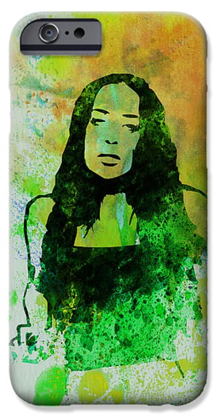 Canadian Paintings iPhone Cases - Alanis Morissette iPhone Case by Naxart Studio