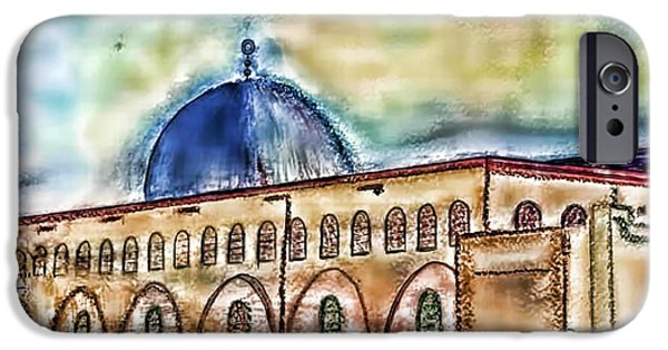 From The Dome iPhone Cases - Alaqsa-mosque3 iPhone Case by Astro Nader