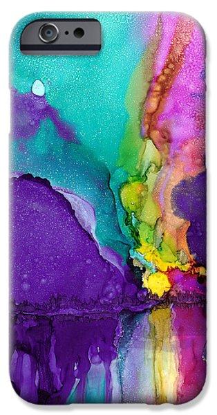Electrical Paintings iPhone Cases - Alaska Aurora Borealis iPhone Case by Karen Mattson