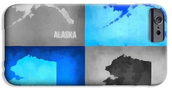 Alaska Mixed Media iPhone Cases - Alaska Map Art iPhone Case by Dan Sproul