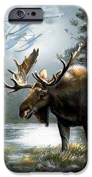 Moo Moo iPhone Cases - Alaska moose with floatplane iPhone Case by Gina Femrite