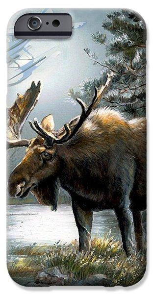 Alaska moose with floatplane iPhone Case by Gina Femrite