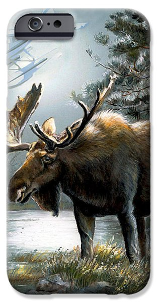 Nature Scene Paintings iPhone Cases - Alaska moose with floatplane iPhone Case by Gina Femrite