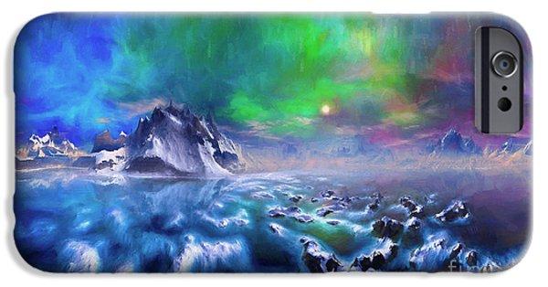 Alaska Mixed Media iPhone Cases - Alaska Northern Lights  iPhone Case by Heinz G Mielke