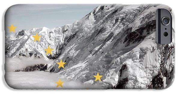 Alaska Mixed Media iPhone Cases - Alaska State Flag Denali iPhone Case by Daniel Hagerman