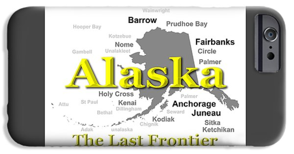 Kodiak iPhone Cases - Alaska State Pride Map Silhouette  iPhone Case by Keith Webber Jr