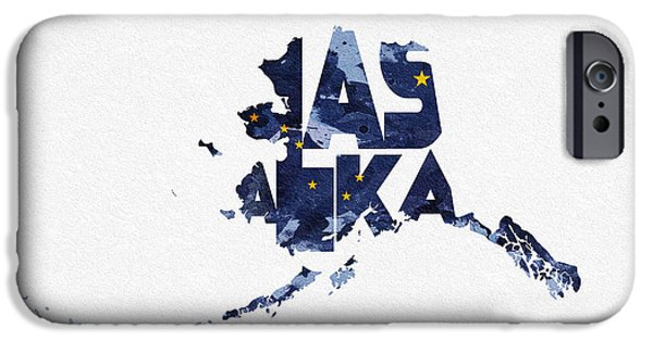 Usa Flag Mixed Media iPhone Cases - Alaska Typographic Map Flag iPhone Case by Ayse Deniz