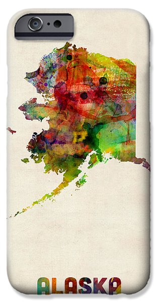 Geography iPhone Cases - Alaska Watercolor Map iPhone Case by Michael Tompsett