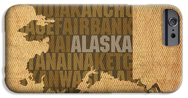 Alaska Mixed Media iPhone Cases - Alaska Word Art State Map on Canvas iPhone Case by Design Turnpike
