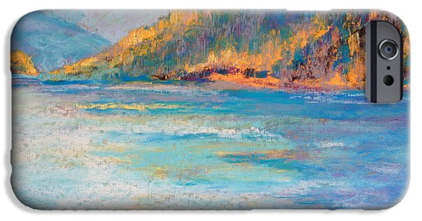 River View Pastels iPhone Cases - Alaskan  Fjord iPhone Case by Arlene Baller