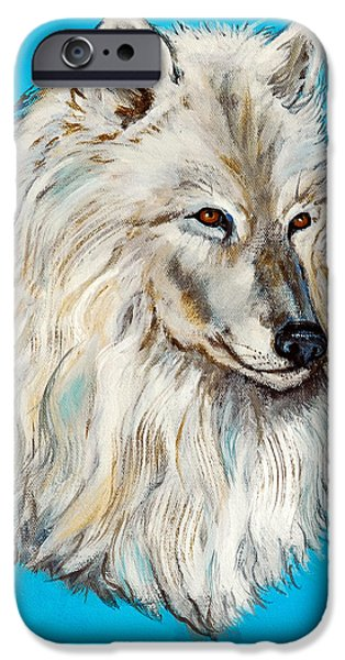Huskies iPhone Cases - Alaskan White Wolf Original ForSale iPhone Case by  Nadine Johnston