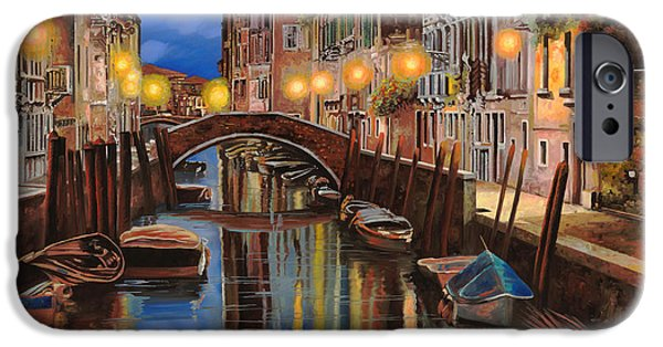 Reflection Paintings iPhone Cases - alba a Venezia  iPhone Case by Guido Borelli