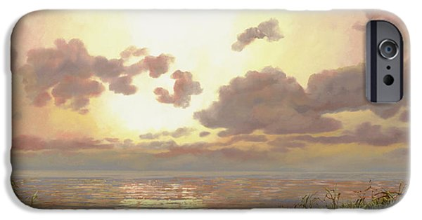 Morning Paintings iPhone Cases - Alba Nella Palude iPhone Case by Guido Borelli
