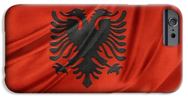 Patriotism iPhone Cases - Albanian flag iPhone Case by Les Cunliffe