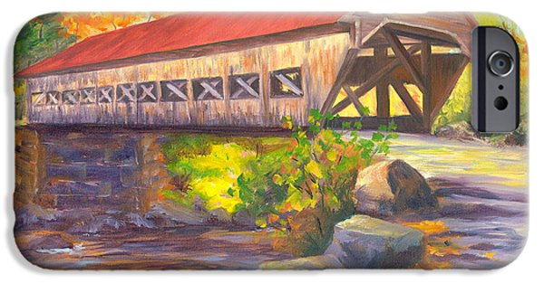 Covered Bridge Paintings iPhone Cases - Albany Covered Bridge #49 iPhone Case by Elaine Farmer