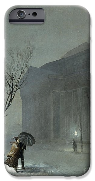 Snowy Night Paintings iPhone Cases - Albany in the Snow iPhone Case by Walter Launt Palmer