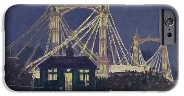 Chelsea iPhone Cases - Albert Bridge - Night Oil On Canvas iPhone Case by Julian Barrow
